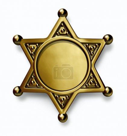 Photo pour Laiton de shérif et de la police ou or insigne métallique avec un centre blanc comme un symbole de sécurité et la répression sur fond blanc. - image libre de droit