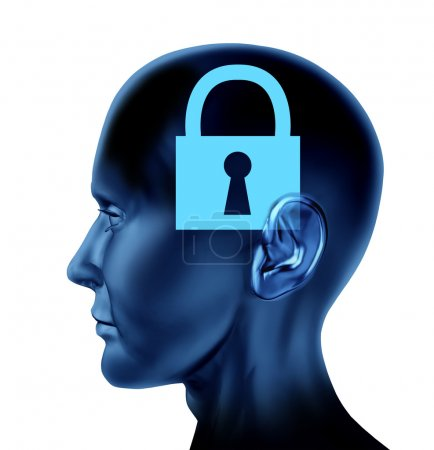 Photo for Lock closed locked secrets mystery symbol as a side view Brain and mind head as a concept of rigid ideas and intelligence. - Royalty Free Image
