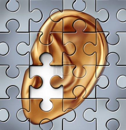 Photo pour Déficience auditive et symbole de l'oreille humaine représente une condition médicale écoute qui se traduit par une surdité. - image libre de droit