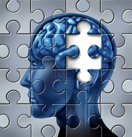 Photo for Memory loss and alzheimer's medical symbol represented by a human brain with a missing piece of the puzzle texture. - Royalty Free Image