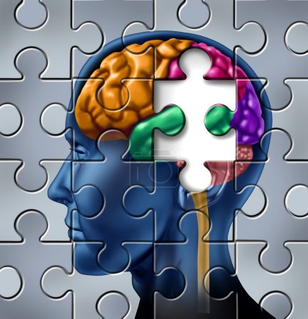 Photo for Intelligence and memory loss symbol represented by a multicolored human brain with a missing piece of a jigsaw puzzle. - Royalty Free Image
