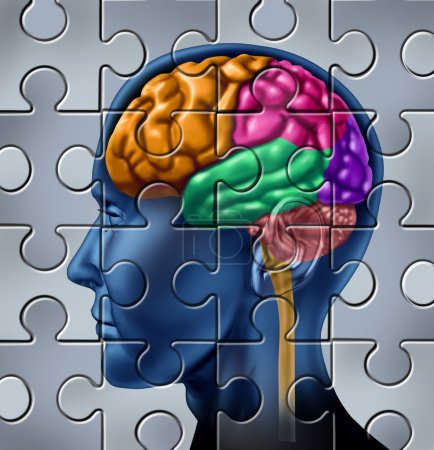 Photo for Intelligence and memory symbol represented by a multicolored human brain with a jigsaw puzzle texture. - Royalty Free Image