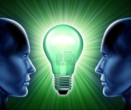 Photo pour Équipe créative et partenariat d'idées représentant le travail d'équipe et la coopération dans le monde des inventions et des innovations commerciales . - image libre de droit