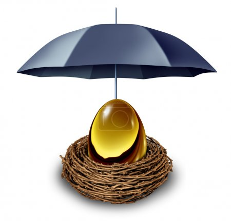 Photo for Financial security and retirement fund insurance symbol with a golden egg in a nest protected by a black umbrella against down turns in the economy and as a tax shelter on a white background. - Royalty Free Image