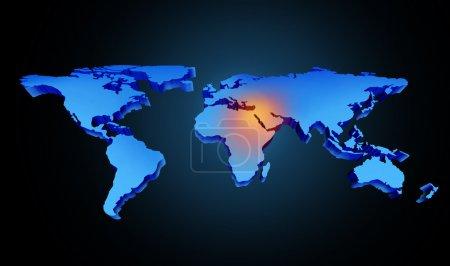 Photo pour Crise mondiale au Moyen-Orient avec une zone de conflit du golfe Persique et symbole du pétrole brut avec des pays comme l'Iran Israël Egypte Libye Koweït Syrie Arabie Saoudite concentré avec une carte bleue et un point culminant rouge . - image libre de droit