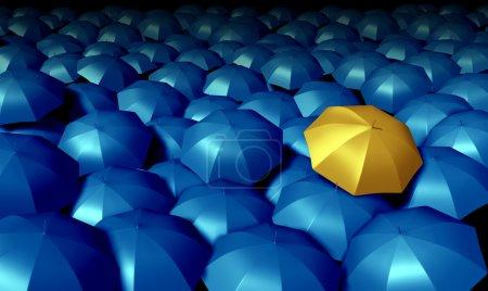 Photo pour Symbole d'entreprise individuel avec un grand groupe de parapluies bleus et se démarquant de la foule comme un parapluie jaune confiant comme icônes de protection et de sécurité financière . - image libre de droit