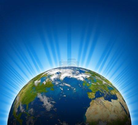 Photo pour International voir d'europe et d'Amérique du Nord sur un modèle de globe planète terre avec fond bleu vif radial - image libre de droit