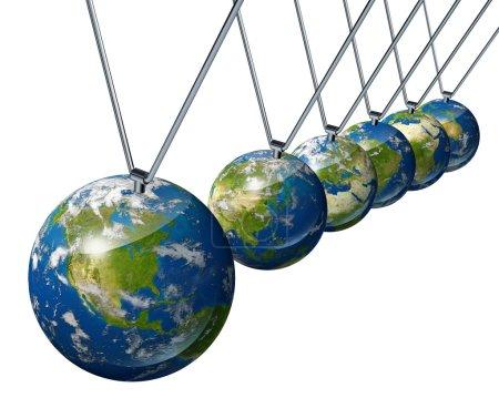 Photo pour Pendule avec l'Amérique du Nord comme force économique affectant d'autres économies mondiales comme l'Europe, l'Asie et l'Afrique isolées sur le blanc . - image libre de droit