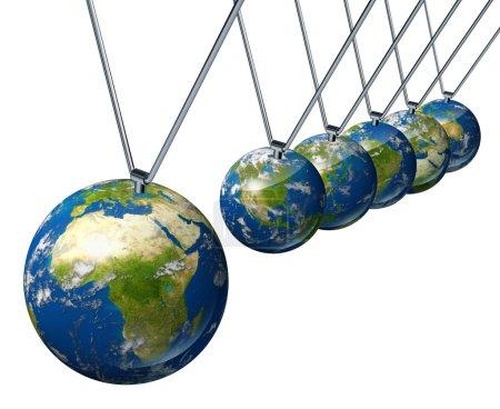 Photo pour Pendule de l'économie mondiale avec l'Afrique et l'industrie du Moyen-Orient affectant les économies et la politique financière de l'Amérique du Nord et de l'Europe ainsi que le reste des puissances mondiales . - image libre de droit