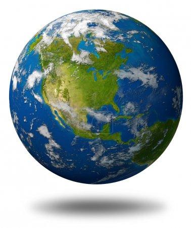 Photo pour Planète terre mettant en vedette l'Amérique du Nord avec le canada des États-Unis et le Mexique entouré par l'océan bleu et les nuages isolés sur blanc. - image libre de droit