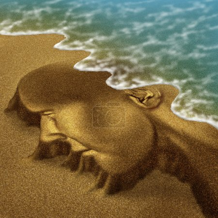 Photo for Memory problems due to Dementia and Alzheimer's disease as a medical health care aging concept with a head and brain sculpted from sand on the beach with the ocean washing the function away with the tide. - Royalty Free Image
