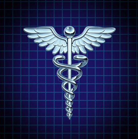 Photo for Caduceus health care symbol and medical icon as a medicine concept with snakes crawling on a pole with wings on a chrome metal texture on a black graph background. - Royalty Free Image