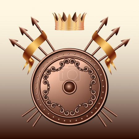 Crown Bronze shield and crossed