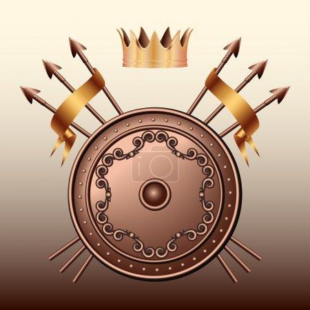 Венец бронзовый щит и скрещенные