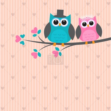 Illustration for Two cute owls in love. Vector wedding card - Royalty Free Image