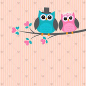 Two cute owls in love Vector wedding card