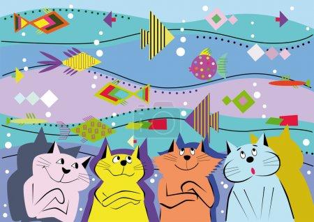 Contexte des chats et des poissons d'ornement .