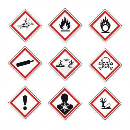 Photo for GHS warning signs set created on White Background in Adobe Illustrator. - Royalty Free Image