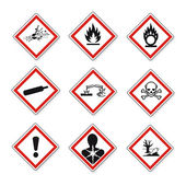 GHS warning signs set created on White Background in Adobe Illustrator