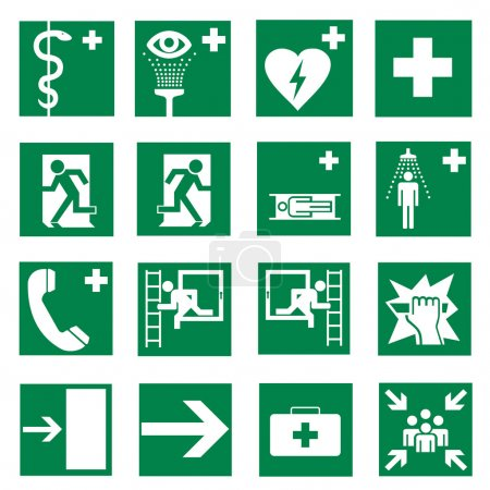 Rescue signs icon exit emergency set