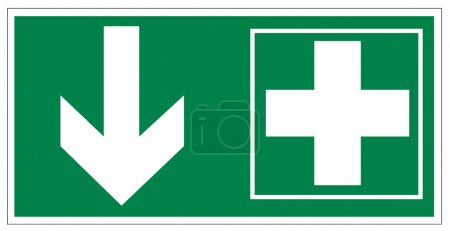 Illustration for Rescue signs icon exit emergency first aid kit on white Background created in Adobe Illustrator. - Royalty Free Image