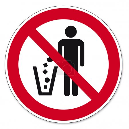 Illustration for Prohibition sing Throw waste prohibited on white Background created in Adobe Illustrator. - Royalty Free Image