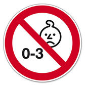 Prohibition signs BGV icon pictogram Not suitable for children under three years baby
