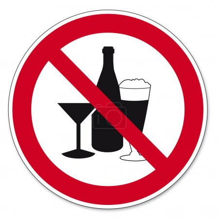 Illustration for Prohibition sing Consumption of alcohol prohibited on white Background created in Adobe Illustrator. - Royalty Free Image