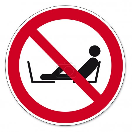 Illustration for Prohibition signs BGV icon pictogram Forbidden to set foot seat on white Background created in Adobe Illustrator. - Royalty Free Image