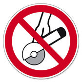 Prohibition signs BGV icon pictogram Hands-free and hand held machines permitted