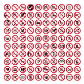 Zákaz podepisuje doprovodný zpěv ikonu piktogram množinová kolekce koláž