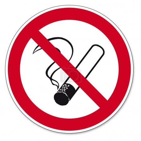 Prohibition signs BGV icon pictogram No smoking cigarette