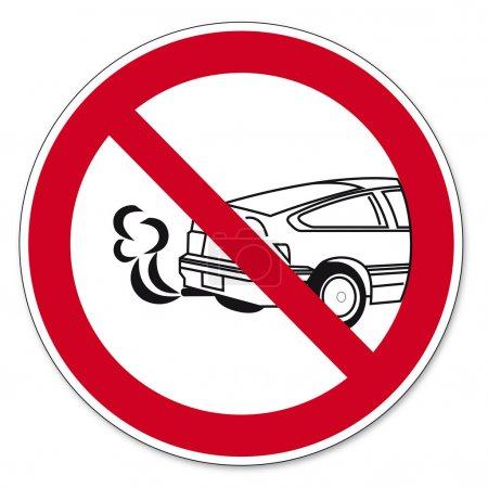 interdiction des signes bgv icône pictogramme arrêter le moteur empoisonnement danger