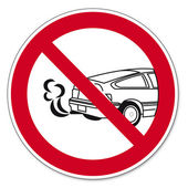 Prohibition signs BGV icon pictogram Stop the engine poisoning hazard