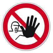 Prohibition signs BGV icon pictogram Access for unauthorized persons on white Background created in Adobe Illustrator