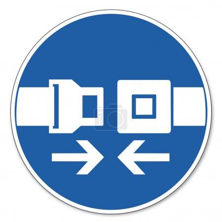 Commanded sign safety sign pictogram occupational safety sign seat belt use