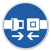 Používat bezpečnostní pásy znamení piktogram přikázal znamení bezpečnostní znamení bezpečnosti práce