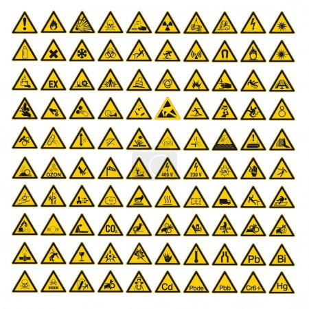 Safety signs warning set warndreieck BGV A8 triangle sign vector pictogram icon