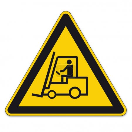 Safety signs warning triangle sign vector pictogram forklift BGV A8 Icon Handling