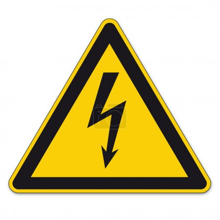 Safety signs warning sign BGV vector pictogram icon lightning lightning symbol current electricity