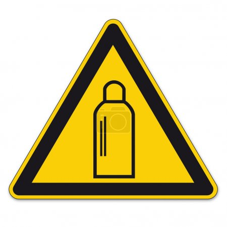 Safety signs warning sign vector pictogram BGV A8 Icon gas cylinder gas fire triangle