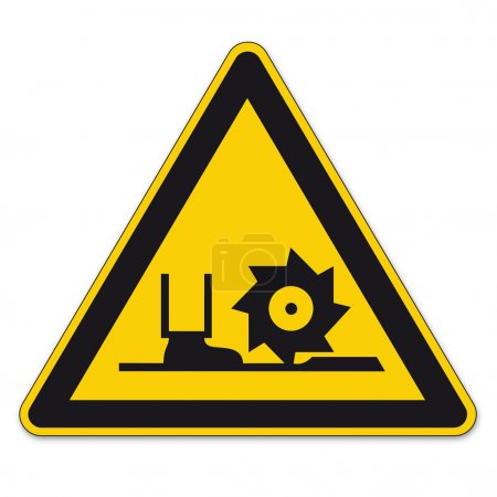 Safety signs warning sign BGV A8 vector pictogram icon milling shaft triangular boater saw
