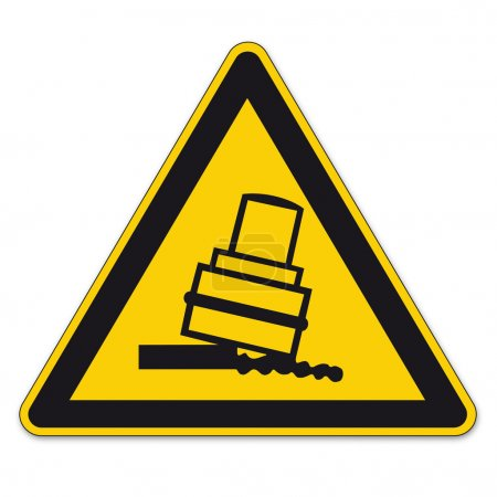 Safety signs warning triangle sign vector pictogram BGV A8 Icon overturning rolls