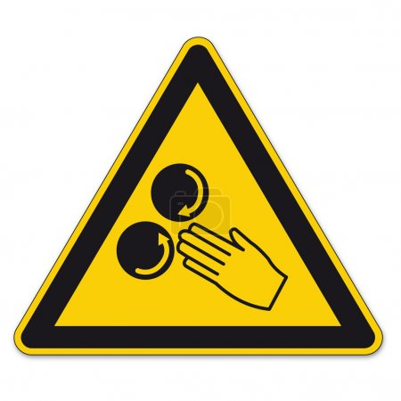 Safety signs warning triangle sign BGV hand finger vector pictogram icon constantly rolling