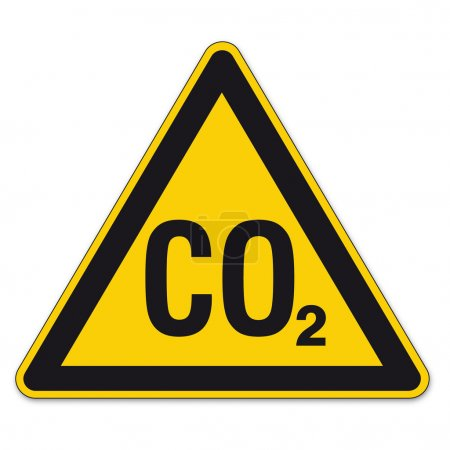 Warning Signs warning of CO2 asphyxiation on White...