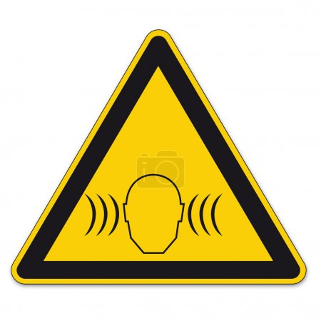 Safety signs warning triangle sign vector pictogram BGV A8 Icon noise sound pressure level
