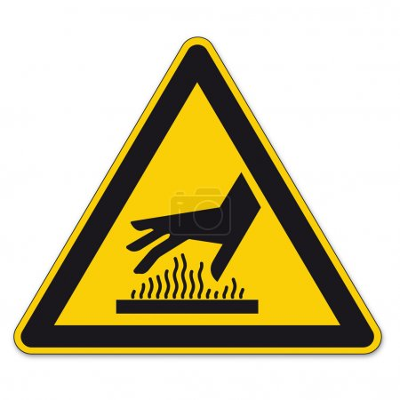 Illustration for Warning signs on Hot surface warning on White Background in Adobe Illustrator. - Royalty Free Image