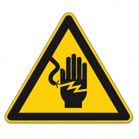 Illustration for Warning Signs Warning of dangerous electrical voltage on White background created in Adobe Illustrator. - Royalty Free Image