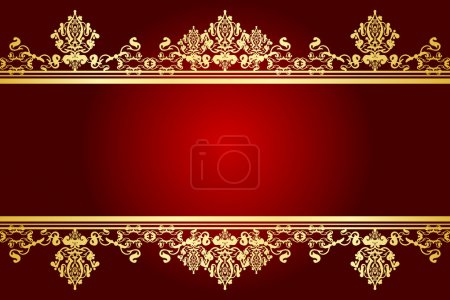 Illustration for Vector red and gold frame - Royalty Free Image
