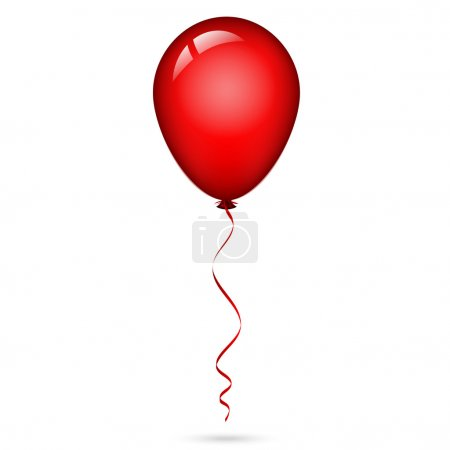 Illustration for Vector illustration of red balloon with ribbon - Royalty Free Image
